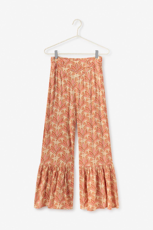 Pantalón con estampado y bordado floral.  Alabama Shop