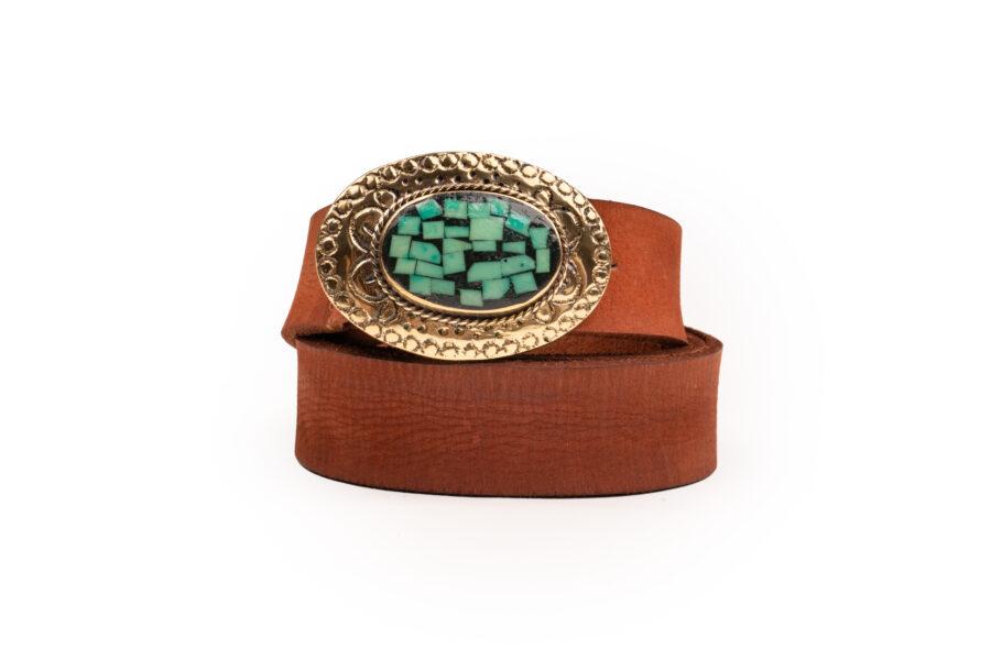 Cinturón de piel trenzado en color natural, con hebillade bronce tipo Western con piedra turquesa labrada a mano. Talla Unica. Detalle Construcción rigida. Hebillade bronce. Composición <ul> <li> <ul> <li>Exterior: 100 % piel</li> </ul> </li> </ul> Alabama Shop