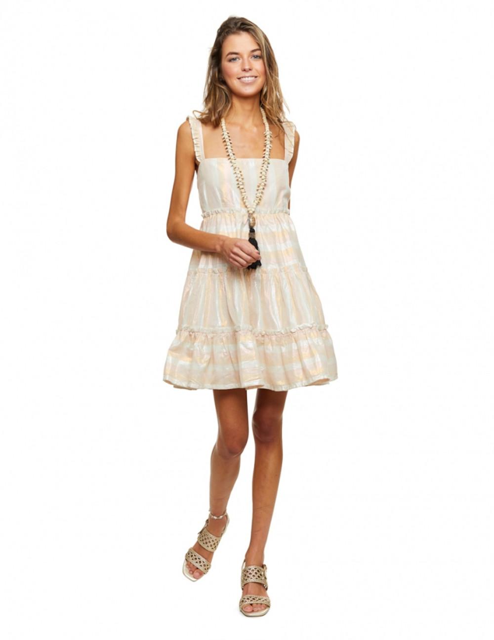 Vestido corto con volumen y con escote palabra de honor. Realizado en algodón lúrex. Alabama Shop