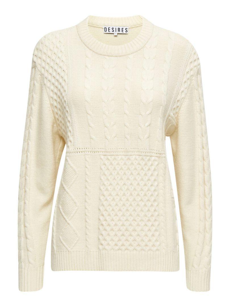 Jersey confortable con cuello caja y ochos. 50% Viscose, 27% Nylon, 23% Polyester Alabama Shop