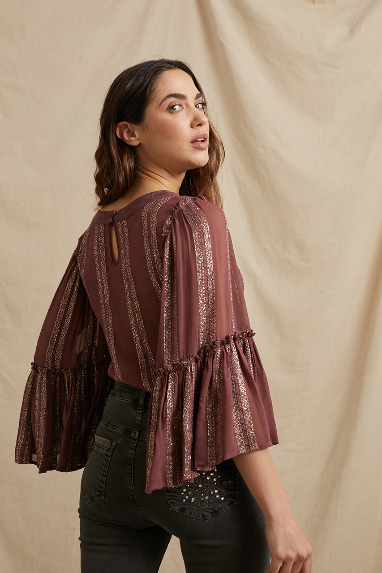 Blusa burgundi bordada con detalles de lurex. Alabama Shop