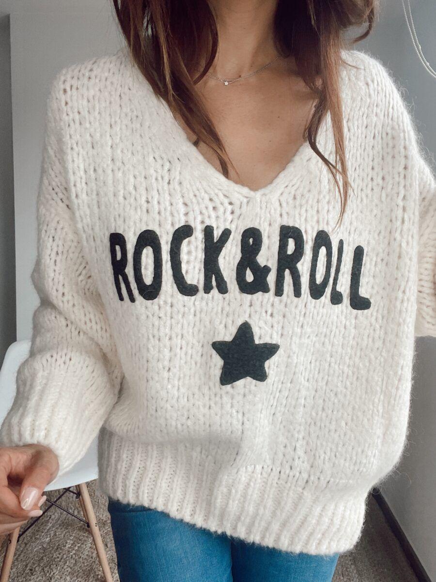 Jersey con motivo Rock&Roll. Talla única 37% mohair, 27% acrílico, 20% poliamida, 16% lana Alabama Shop