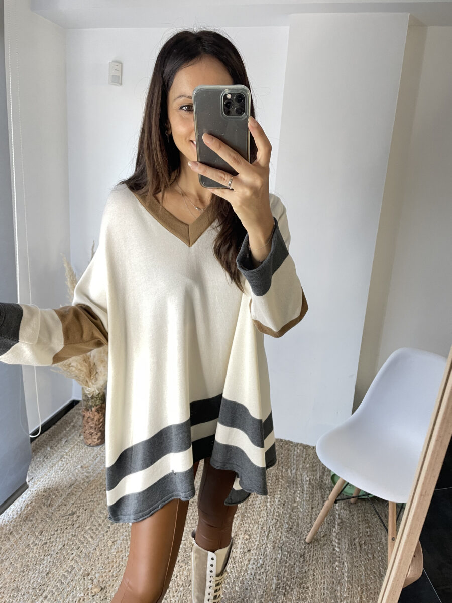 Suéter oversize fabricado en 50% algodón, 50% modal. Talla única. Made in Portugal.  Alabama Shop