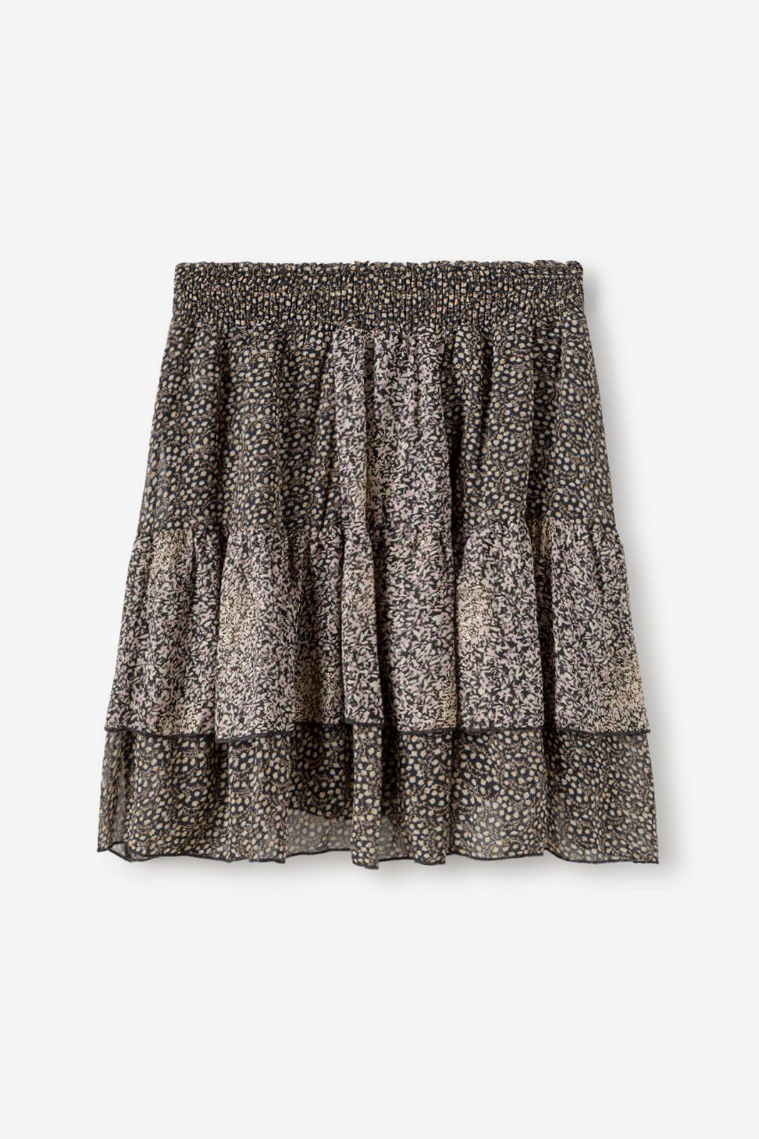 <p>Falda corta con cintura smock y volantes. Estampado con motivos florales combinados. Composición 100º/ₒ Poliester </p> Alabama Shop
