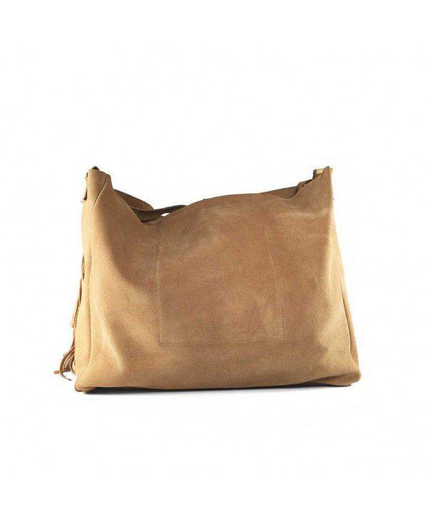 "<p dir=""ltr"">Bolso tote de ante de alta calidad.</p> <p dir=""ltr"">Fabricado en España.</p> <p dir=""ltr"">Asa regulable (max.77 cm), bolsillo interior, flecos laterales y cierre con cremallera.</p> <p dir=""ltr"">Medidas 40 cm/ 30cm/12 cm.</p> Alabama Shop"